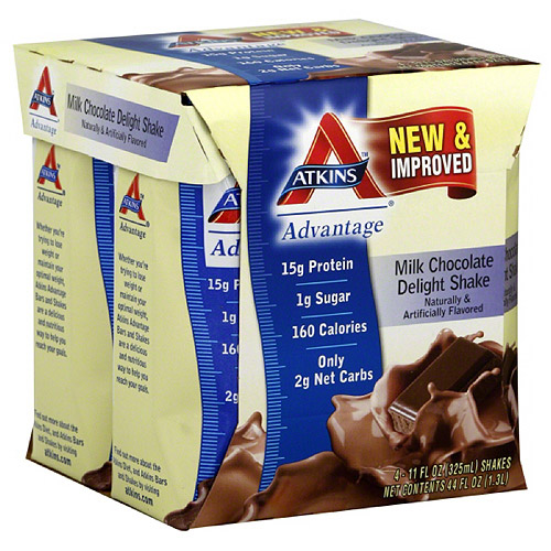 Atkins Advantage Milk Chocolate Delight Nutritional Shakes, 4 count, (Pack of 6)