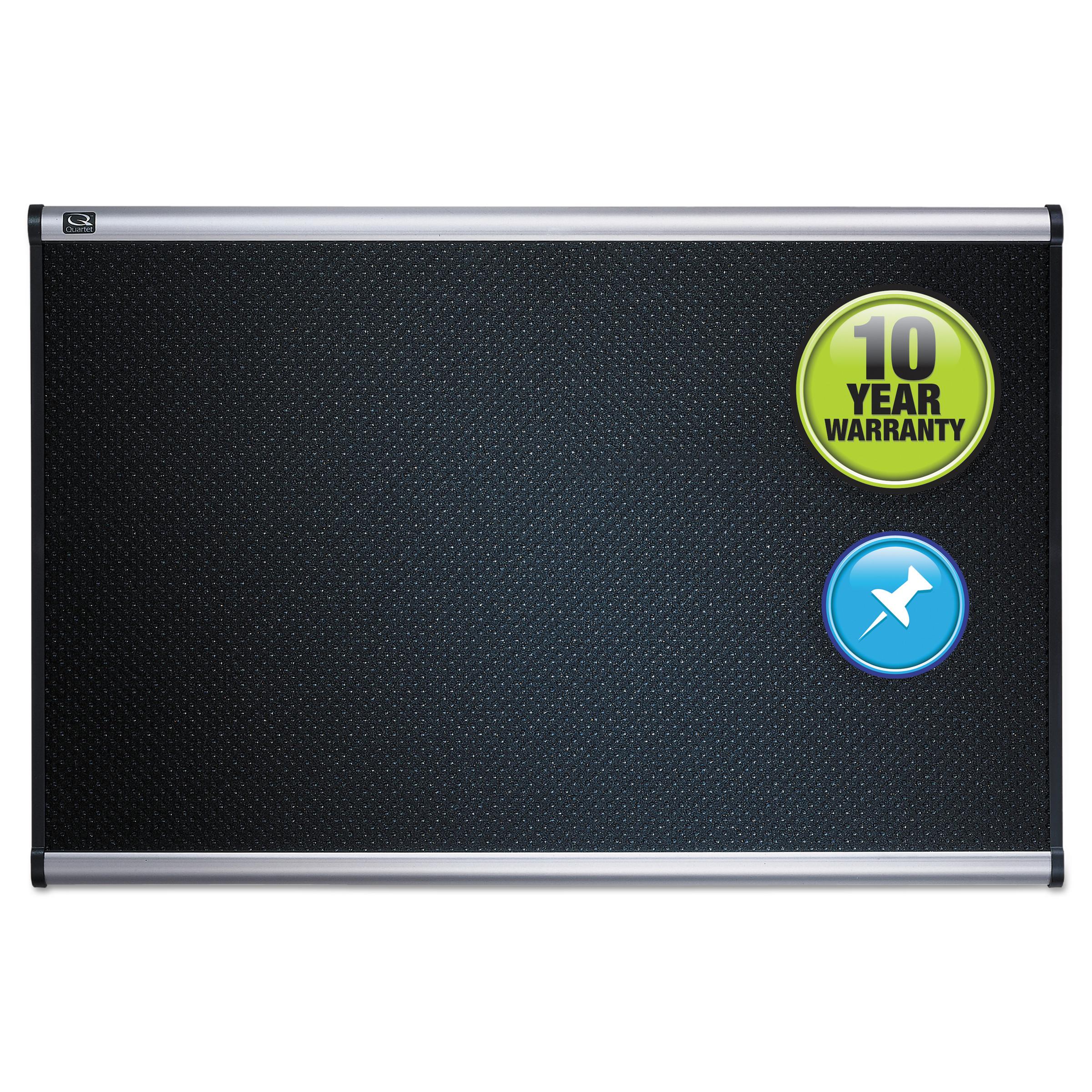 Quartet Embossed Bulletin Board, Hi-Density Foam, Black, Aluminum Frame