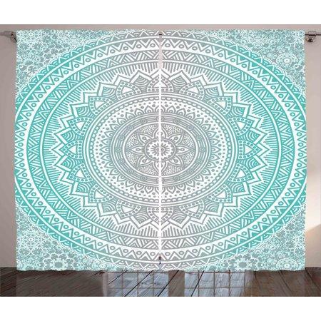 Grey And Aqua Curtains 2 Panels Set Ombre Traditional Universe Symbol With Tribal Geometric Mandala