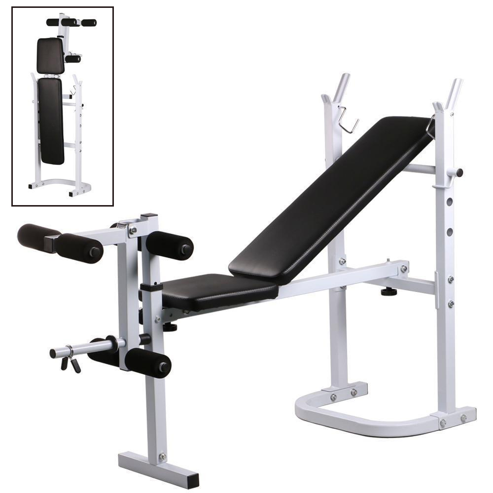 Zimtown Folding Olympic Weight Bench Adjustable Professional Multi Functional Workout Bench Set