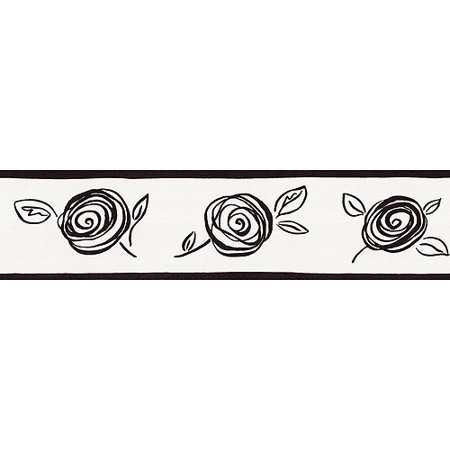 Blue Mountain Floral Wallpaper Border Black And White