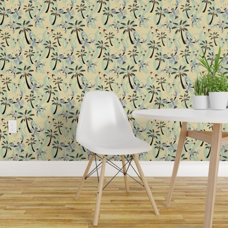 Removable Water Activated Wallpaper Lobster Tropical Beach Retro Lobst