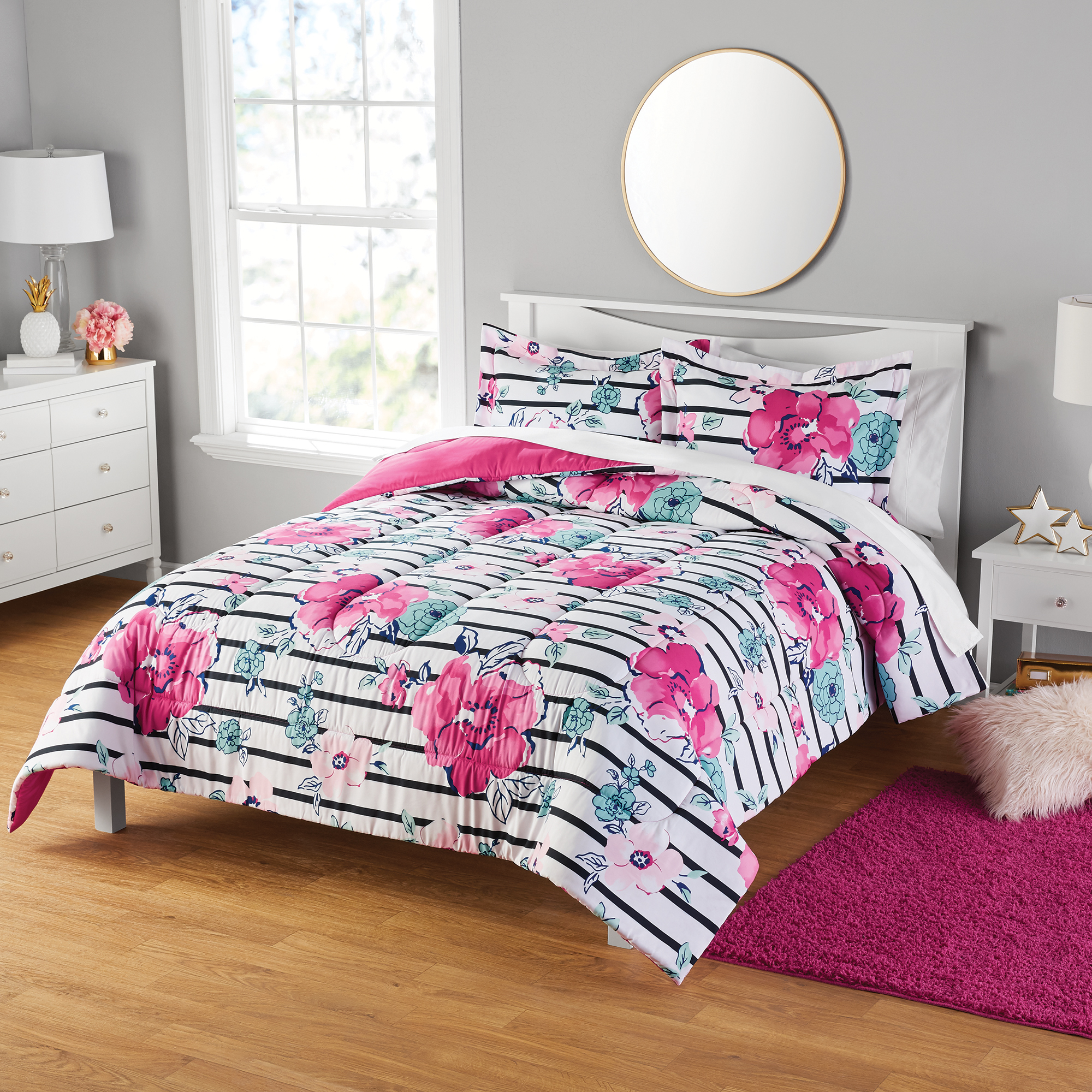 Your Zone Floral Print Comforter and Sham Set