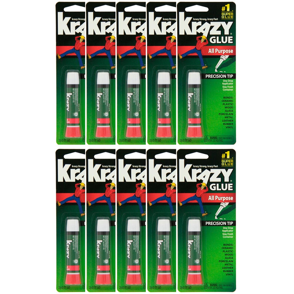 10 Pack Krazy Glue Instant Strong Fast Drying All Purpose Glue, .07 oz