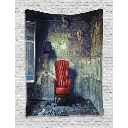 Antique Tapestry, Old Armchair in Grunge Retro Interior Damaged Messy Abandoned House Old, Wall Hanging for Bedroom Living Room Dorm Decor, Pale Green Red Black, by