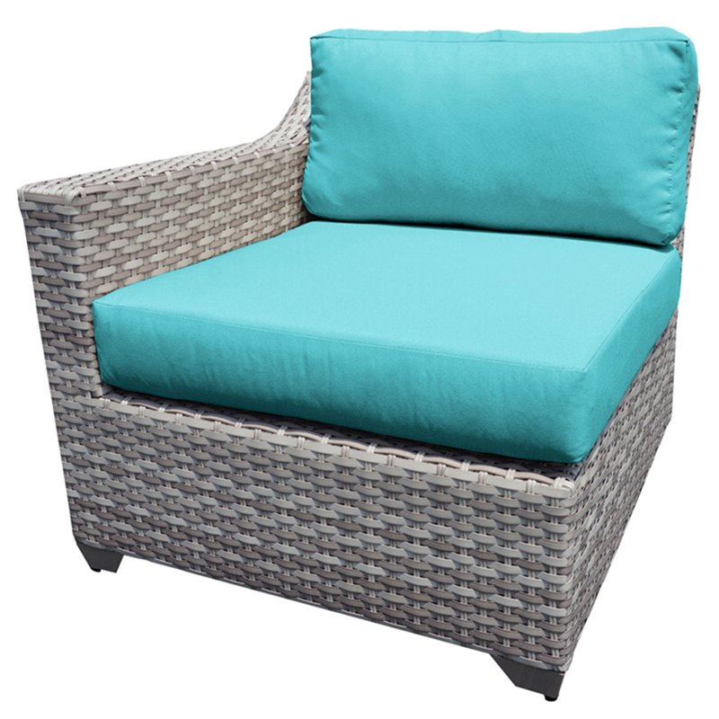 Bowery Hill Right Arm Patio Chair in Turquoise