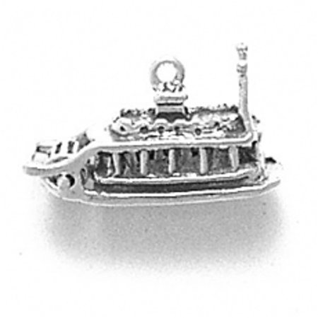"Sterling Silver 16"" .8mm Box Chain 3D Steamboat Paddleboat Showboat Riverboat Pendant Necklace"