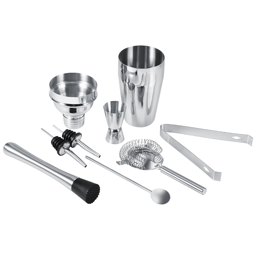 8Pcs 550ML Stainless Steel Cocktail Shaker Set Ice Tong Mixing Spoon Pourers Bar Tools by