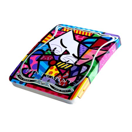 Hint Mint Limited Edition Artist Series Romeo Britto  Blue Cat  Cinnamint Flavor 0 81 Oz Tin   35 Mints
