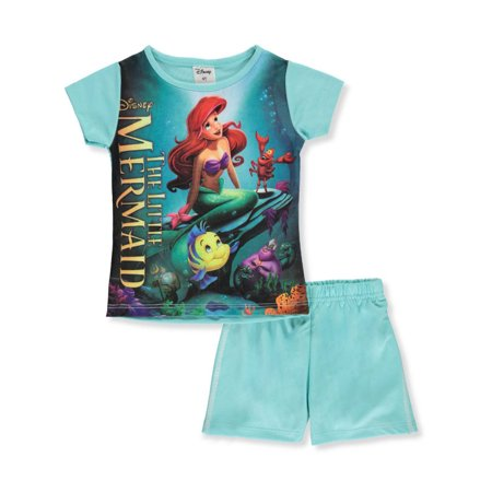 Disney The Little Mermaid Girls' 2-Piece Shorts Set Outfit