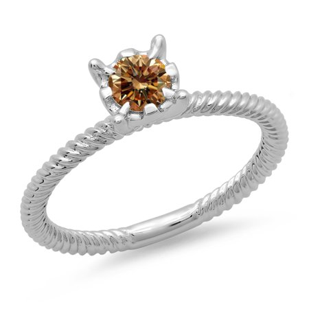 Dazzlingrock Collection 0.40 Carat (ctw) 14K Round Cut Champagne Diamond Bridal Solitaire Engagement Ring, White Gold, Size 4 ()