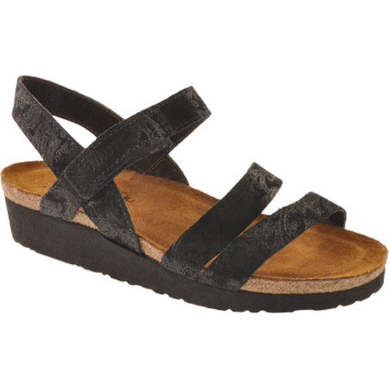 1c358006163f Naot Kayla Black Lace Nubuck Women s SandalFeatures include  Soft leather  uppers Adjustable velcro strap around ankle Suede-lined