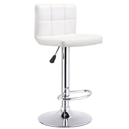 Costway 1 PC Bar Stool Swivel Adjustable PU Leather Barstools Bistro Pub Chair White ()