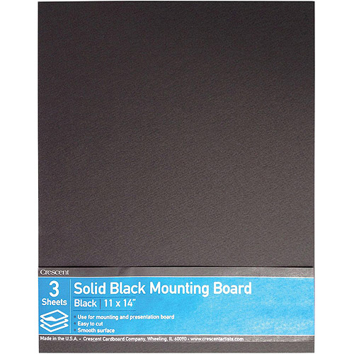 "Crescent Solid Black Mounting Board Value Pack, 3pk, 11"" x 14"""