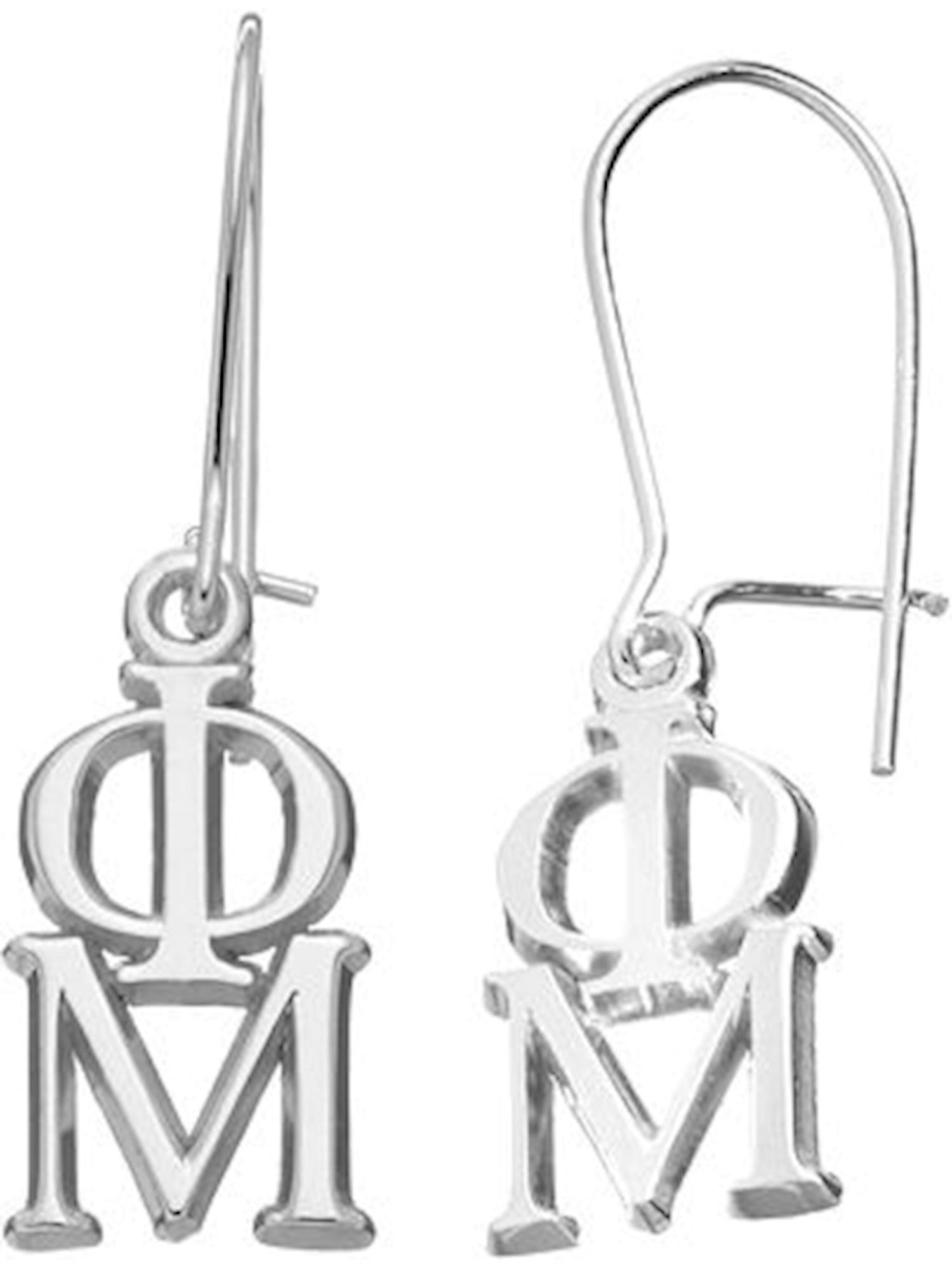Lex /& Lu LogoArt Sterling Silver Pi Beta Phi Vertical Letters Dangle Earrings