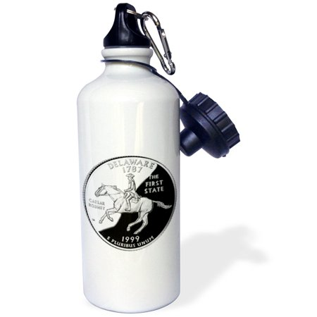 3dRose State Quarter of Delaware (PD-US), Sports Water Bottle, 21oz