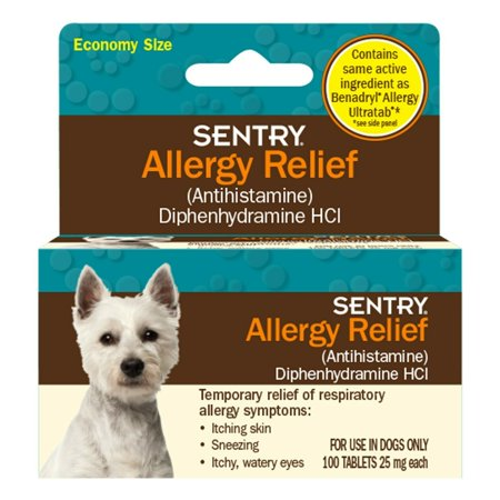 Dog Allergy Relief Tablets Pet Safe Antihistamine Respiratory Symptoms 25mg