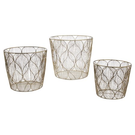 Handmade Ogee Wave Wire 3 Piece Basket Set, Brass by Drew Barrymore Flower Home - Hand Painted Porcelain Basket