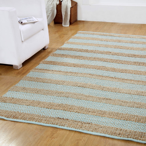 Affinity Linens Hand-Woven Natural/ Light Blue Area Rug