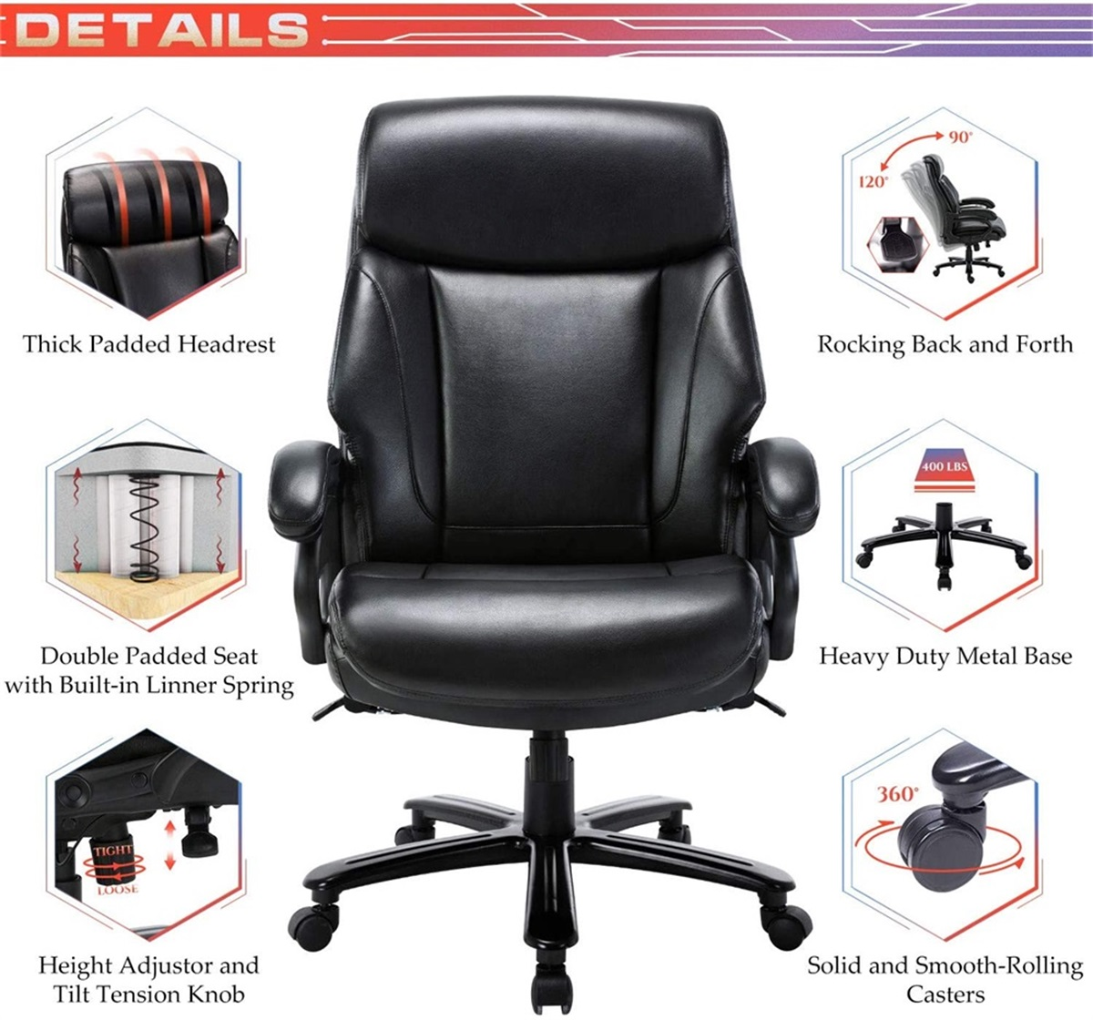 Big Tall Ergonomic Design Bonded Leather Office Chair Large Executive Desk Chair Computer Swivel Chair With High Back Heavy Duty Metal Base Adjustable Tilt Angle Lumbar Support For Home Office