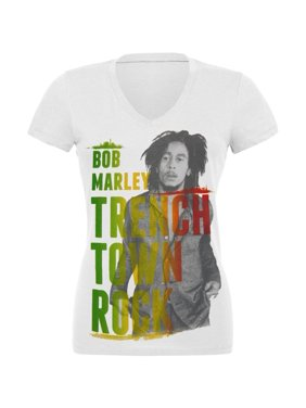 8e98f66e0fdce6 Product Image Bob Marley - Rasta Trenchtown Rock V-Neck Juniors T-Shirt
