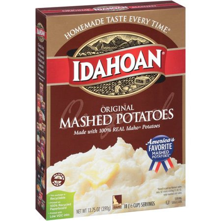 Tysons Beef Tips and Gravy and Idahoan Original Mashed Potatoes: