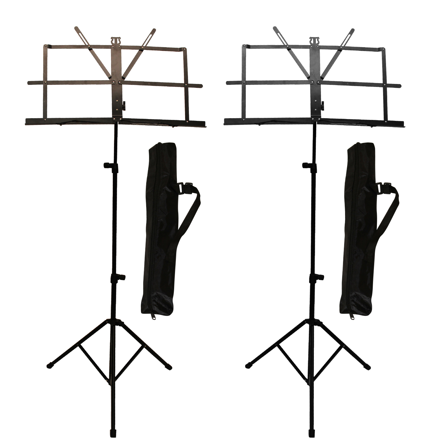 ChromaCast Folding Music Stand with Carry Bag, 2 Pack
