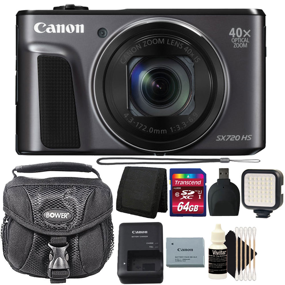 Brand New! Canon PowerShot SX720 HS 20.3MP 40X Optical Zoom Wifi / NFC Enabled Digital Camera Black with 64GB Accessory Kit