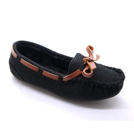 Girls Black Bow Detailed Soft Moccasin Flat Casual Shoes 11-4 Kids](Kids Moccasins)