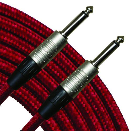 "RapcoHorizon 18' Vintage Cloth Instrument Cable, Red 1/4"" Straight"