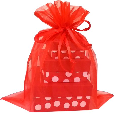 X Large Organza Bags 5 Red Color 12 14 Inch Pouch Bag