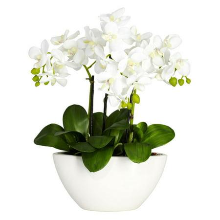 Nearly Natural Phalaenopsis Silk Flower Arrangement ()