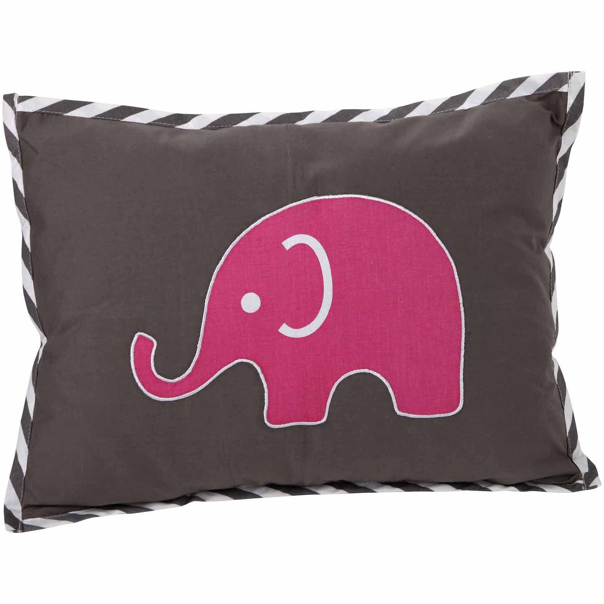 "Bacati Elephants Dec Pillow 12""x16"" with removable 100 % Cotton cover and polyfilled pillow insert, Pk/Gray"
