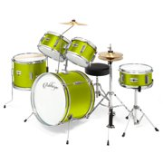 """Ashthorpe 5-Piece Complete Kid's Junior Advanced Beginner Drum Set with Brass Cymbals with 16"""" Bass, Adjustable Throne, Hi-Hats, Pedals and Drumsticks, Green"""