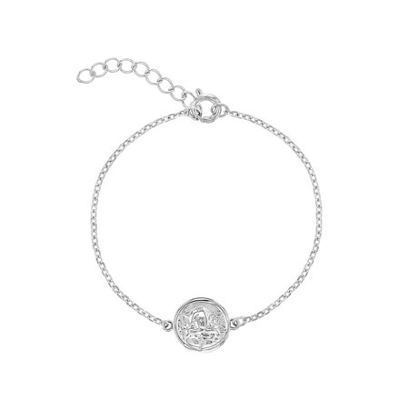 925 Sterling Silver Guardian Angel Medal Bracelet Infants Children 5.5