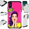"""Compatible With Apple iPhone XS Max 6.5  Case Hybrid TPU Fusion Phone Cover (WOW Girl) Hybrid Case Information:Brand new 2-layer hard plastic case combined with flexible rubber TPU inner cover.• Hybrid case is a molded perfect-fit to your phone.• Double the protection both front and back hard cover.• Protects your phone against any scratch, bump, finger marks, and dirt.• High quality TPU that is resistant to shock and has a great grip.• Custom cutout design, giving you total access to all functions and buttons without removing your phone from case.• Designed in US with superior quality.Phone NOT included. Compatible For: Apple iPhone XS Max 6.5"""""""