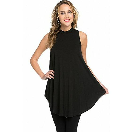 003c600c4a3df SASSY APPAREL - Sassy Apparel Women s Sleeveless Mock Neck Tunic Fashion  Top (Black) - Walmart.com