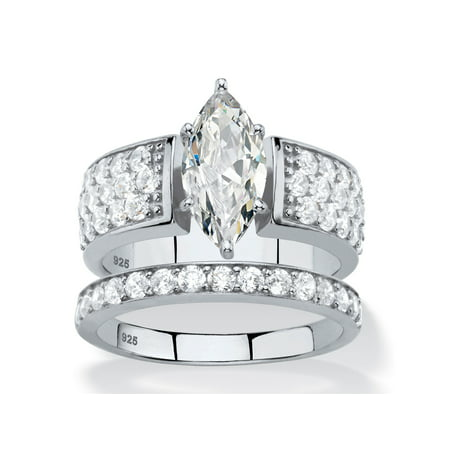 - 3.01 TCW Marquise-Cut White Cubic Zirconia 2-Piece Bridal Wedding Ring Set in Platinum over Sterling Silver