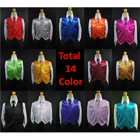 Outfits For Teenagers (New 2pc Set Satin Vest + Necktie Baby Toddler Kid Teen Formal Boy Suit 14)