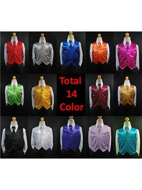 New 2pc Set Satin Vest + Necktie Baby Toddler Kid Teen Formal Boy Suit 14 Color