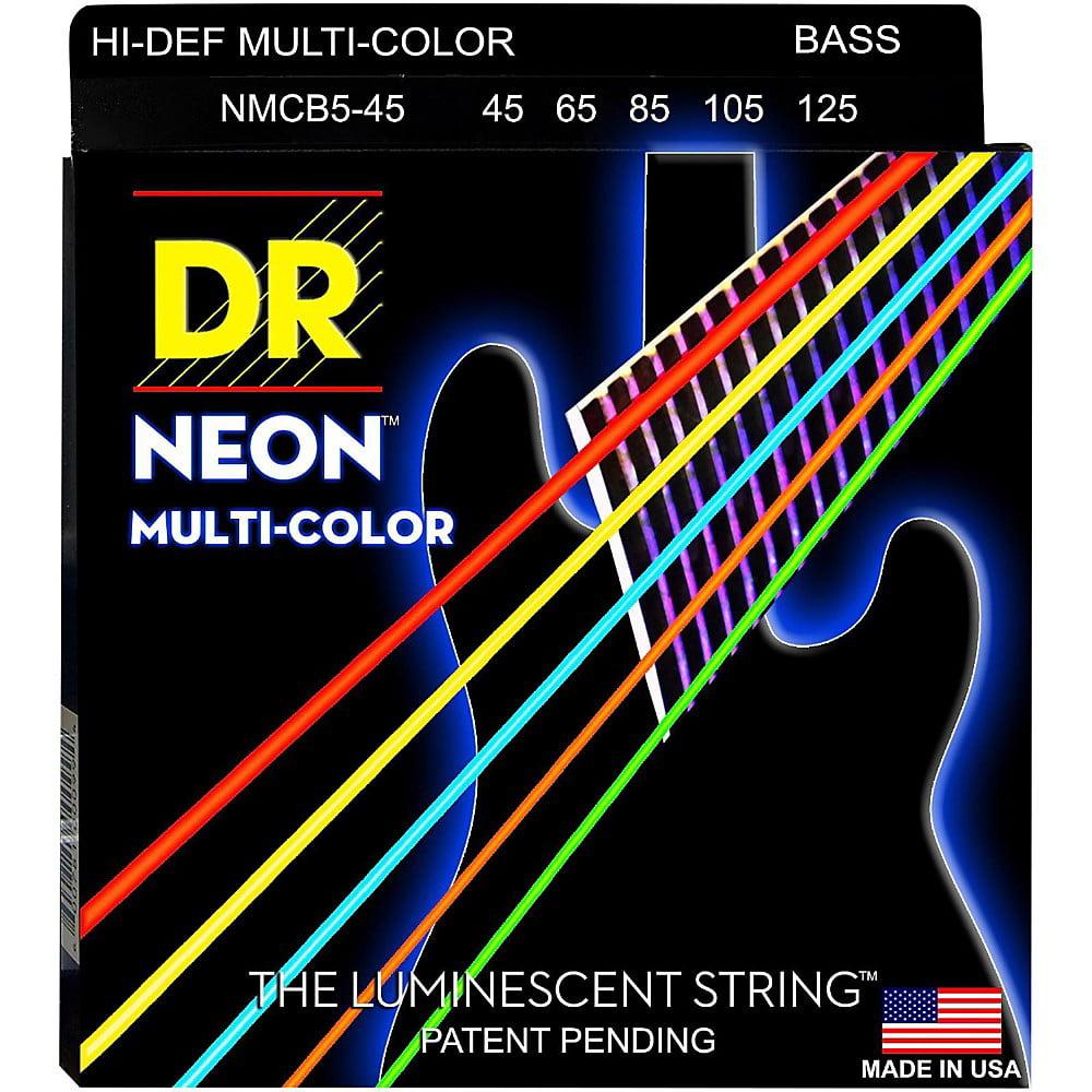 DR Strings Hi-Def NEON Multi-Color Coated Medium 5-String Bass Strings by DR Strings
