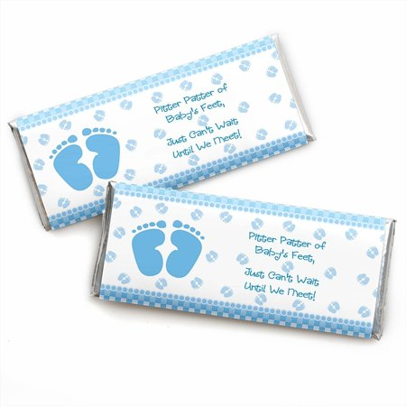 Baby Feet Blue - Baby Shower Candy Bar Wrappers Party Favors - Set of 24 (Candy Bar At Baby Shower)
