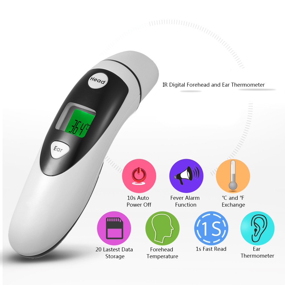 JUMPER Medical Digital Forehead and Ear Thermometer Infrared Body Temperature Measurement Fever Warning FDA & CE Approved