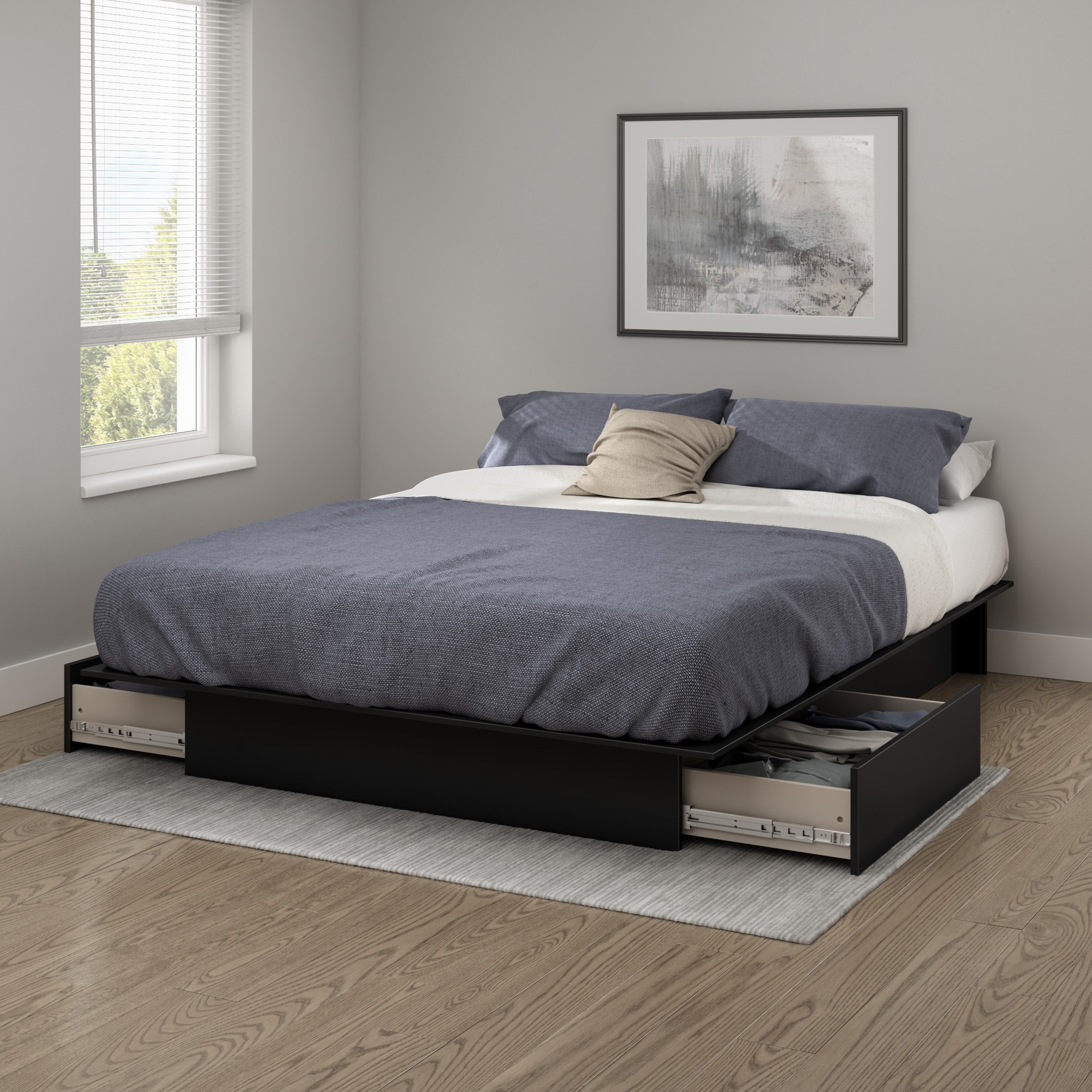 South Shore SoHo Full/Queen Storage Platform Bed with 2 Drawers, Multiple Finishes