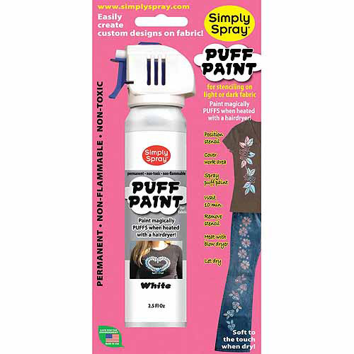 Deval Products Spray Puff Fabric Paint, 2.5 oz, White