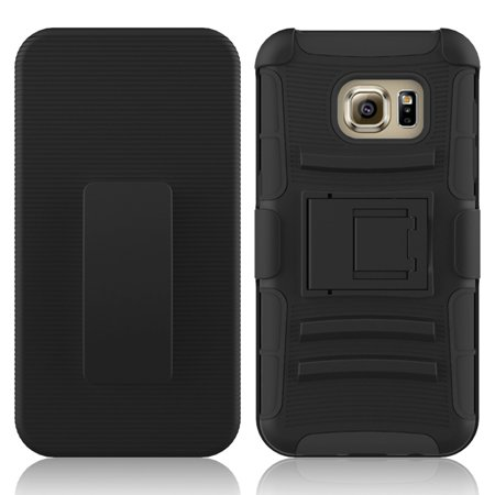 new concept b9de5 87c63 Hybrid Rhino Armor Case with Holster & Swivel Clip + Stylus for Samsung  Galaxy S7 - Black/Black