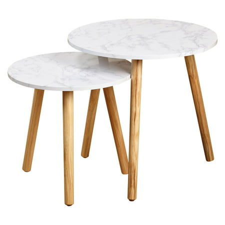 Darcy Nesting Table, White/Natural