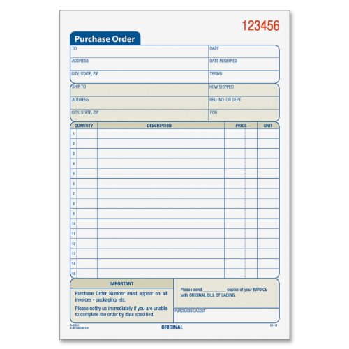 "Tops Purchase Order Book - 50 Sheet[s] - 2 Part - Carbonless - 7.93"" X 5.56"" Sheet Size - Assorted - 1each (TOP46140)"