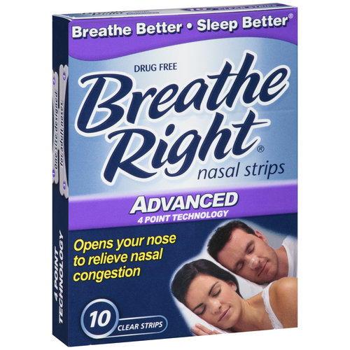 Breathe Right Advanced Nasal Strips, Clear, 10 count