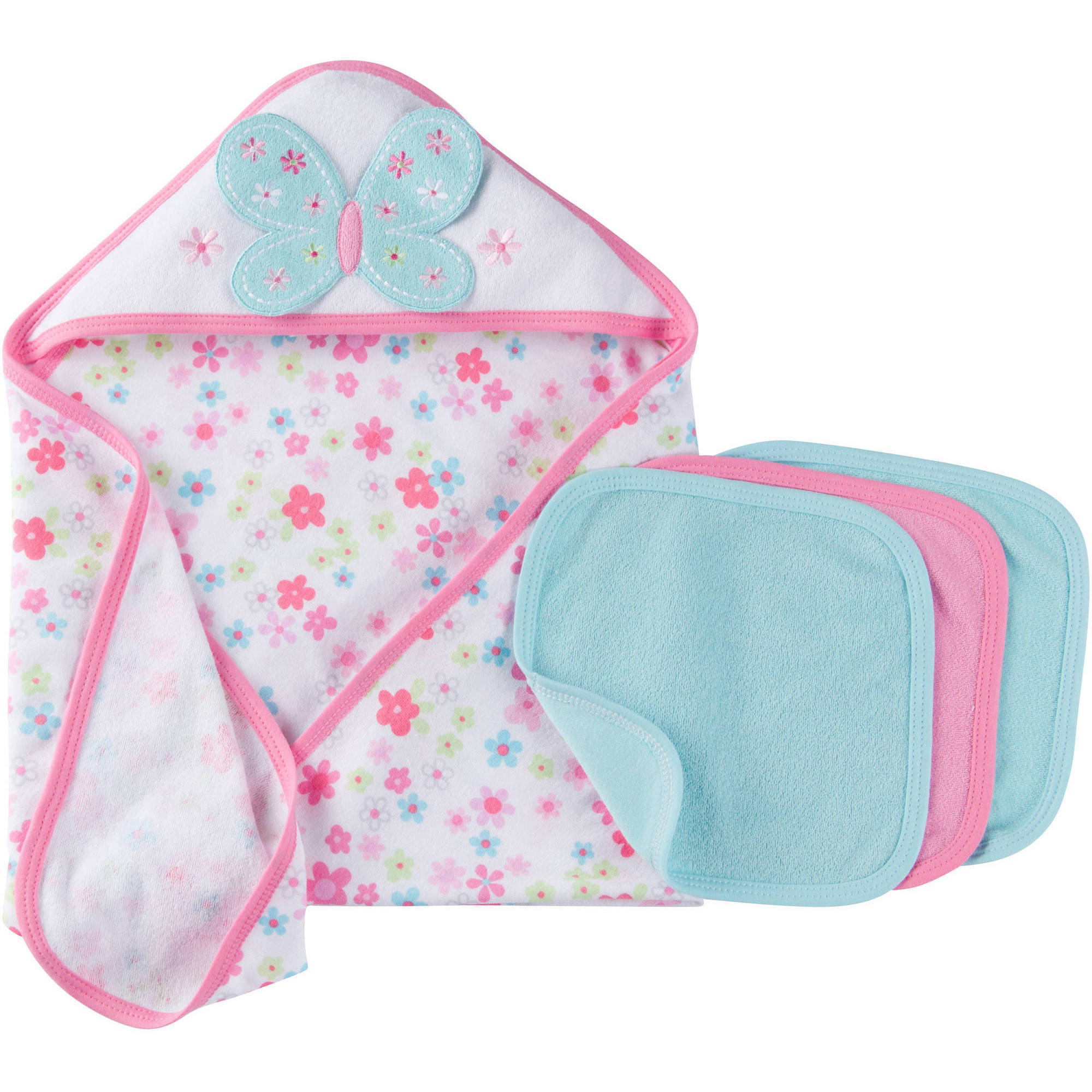 Gerber Newborn Baby Girl Towel and Washcloths Bath Essentials 4-Piece Gift Set